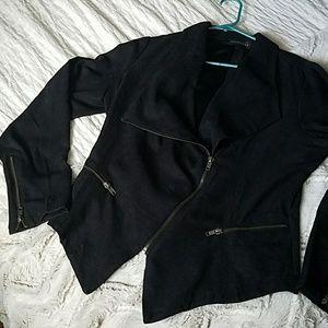 Black Faux Suede Asymmetrical Blazer